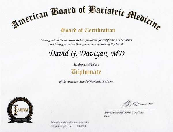 Dr. David G. Davtyan's 2005 American Board of Bariatric Medicine Certification Los Angeles CA