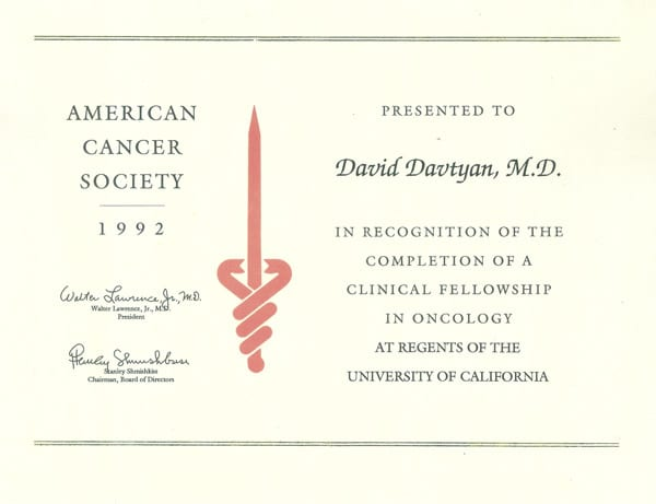 Dr. David G. Davtyan's 1992 American Cancer Society Clinical Fellowship Oncology Completion Certificate