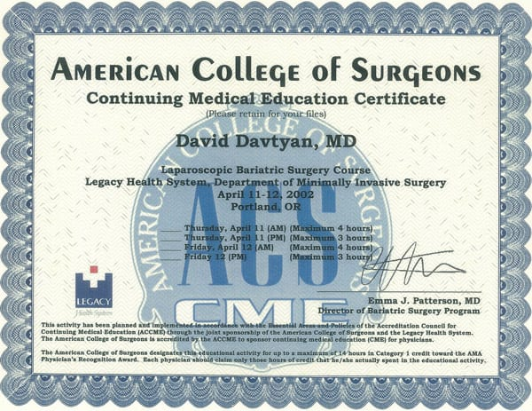 Dr. David G. Davtyan's 2002 American College of Surgeons Laparoscopic Bariatric Surgery Course Completion Certificate