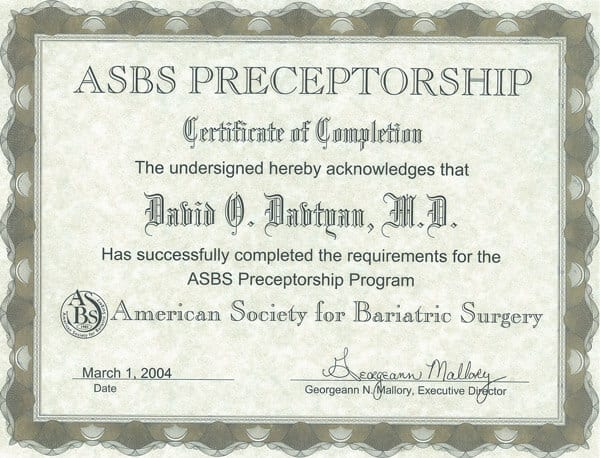 Dr. David Davtyan's 2004 Completion Of The ASBS Preceptorship Program Certificate