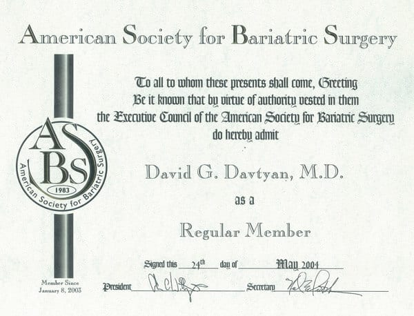 Dr. David G. Davtyan's 2004 American Society For Bariatric Surgery Regular Member Certification