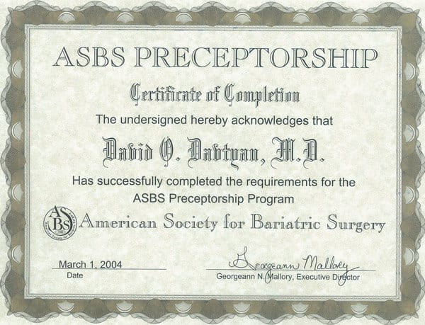 Dr. David G. Davtyan's 2004 ASBS Preceptorship Program Completion Certificate