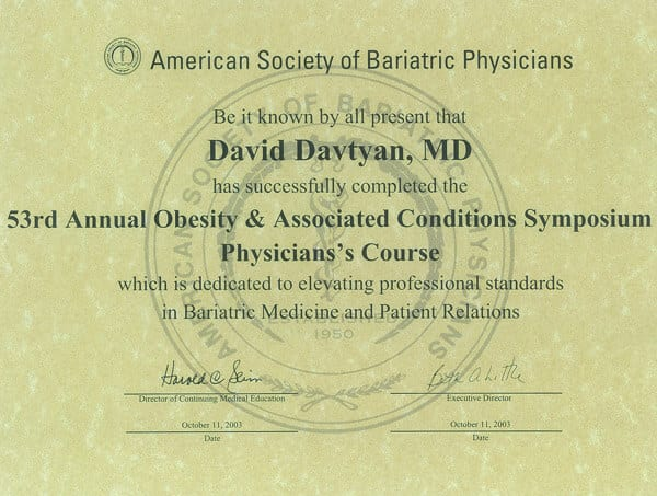 Dr. David Davtyan's 2003 American Society Of Bariatric Physicians 53rd Obesity & Associated Conditions Symposium Certificate