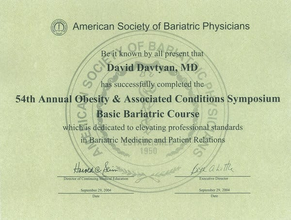 Dr. David Davtyan's 2004 American Society Of Bariatric Physicians 54th Obesity & Associated Conditions Symposium Certificate