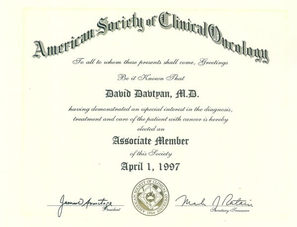 David G. Davtyan's 1997 American Society Of Clinical Oncology Associate Member Of This Society Certification