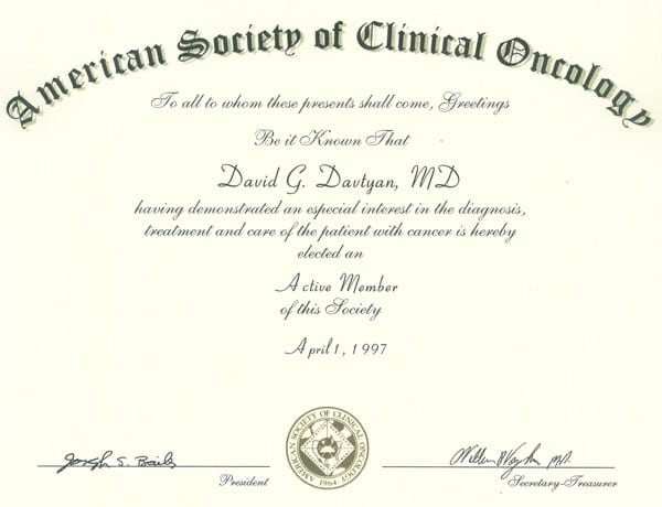 David G. Davtyan's 1997 American Society Of Clinical Oncology Active Member Of This Society Certification