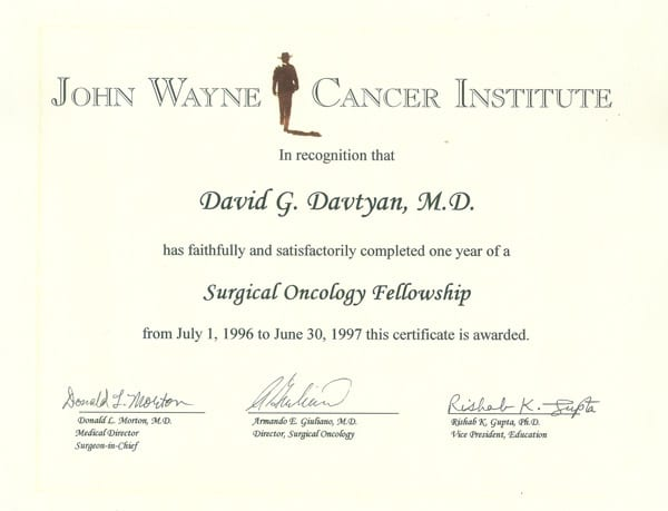 Dr. David G. Davtyan's 1996 John Wayne Cancer Institute Surgical Oncology Fellowship Certificate
