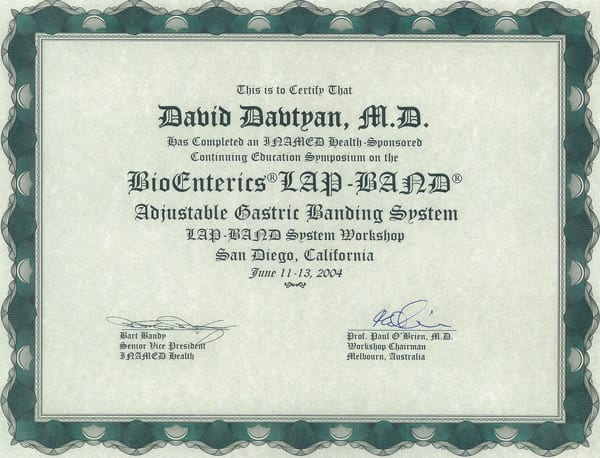 David Davtyan's 2004 Certification Continuing Education Symposium BioEntrics Lap-Band System San Diego, CA