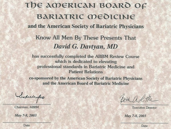 Dr. David Davtyan's 2003 American Board of Bariatric Medicine ABBM Review Completion Certificate