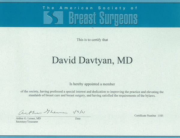 Dr. David Davtyan's 2001 American Society of Breast Surgeons Appointed Member Certificate