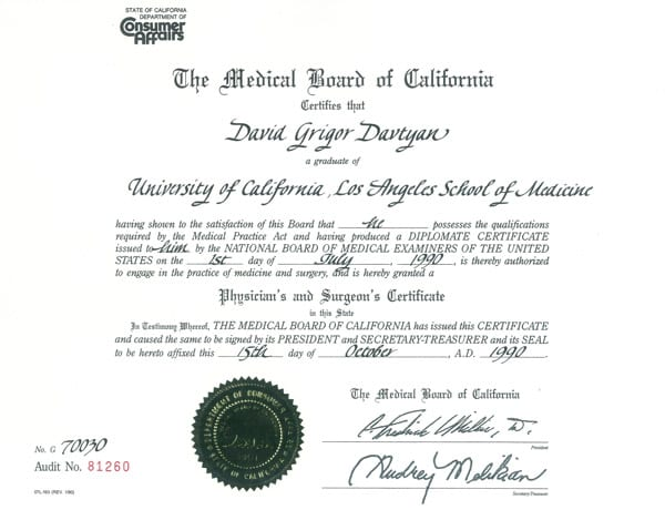 Dr. David Davtyan's 1990 Medical Board of California UCLA School Of Medicine Physician's & Surgeon's Certificate