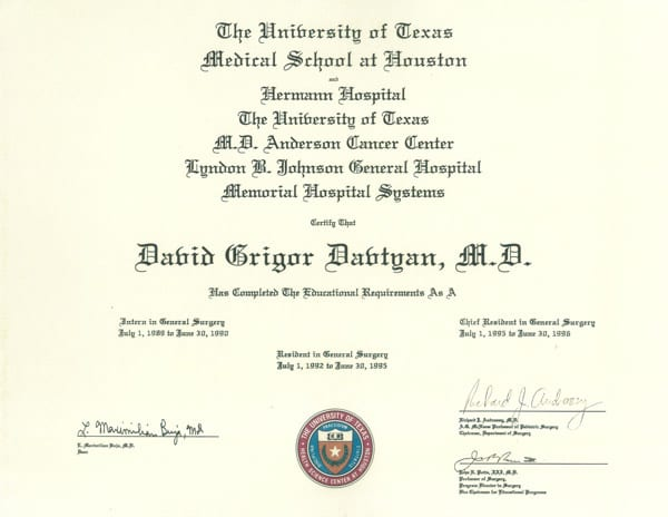 Dr. David Davtyan's 1992 University Of Texas Medical School Houston Completion As A Resident In General Surgery Certificate