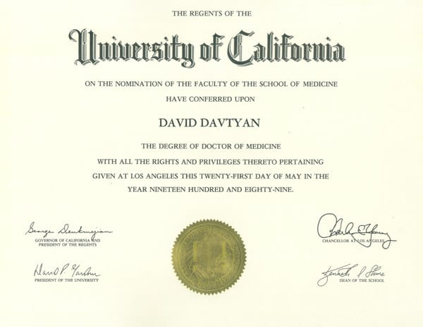 Dr. David G. Davtyan's 1989 UCLA School Of Medicine Doctor Of Medicine Degree