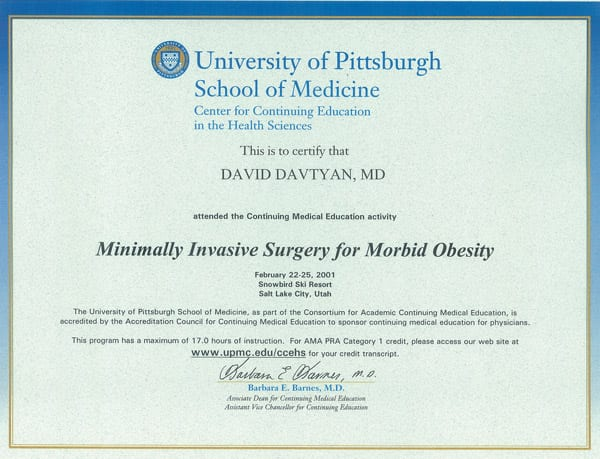 Dr. David Davtyan's 2001 University of Pittsburgh School of Medicine Minimally Invasive Surgery Certificate Salt Lake Utah