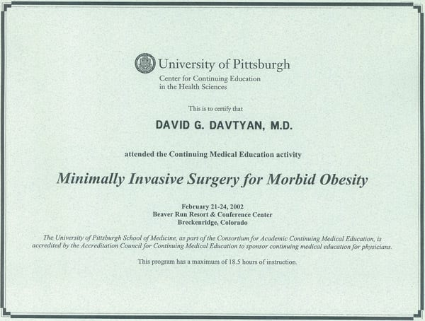 Dr. David G. Davtyan's 2002 University of Pittsburgh Minimally Invasive Surgery For Morbid Obesity Certification