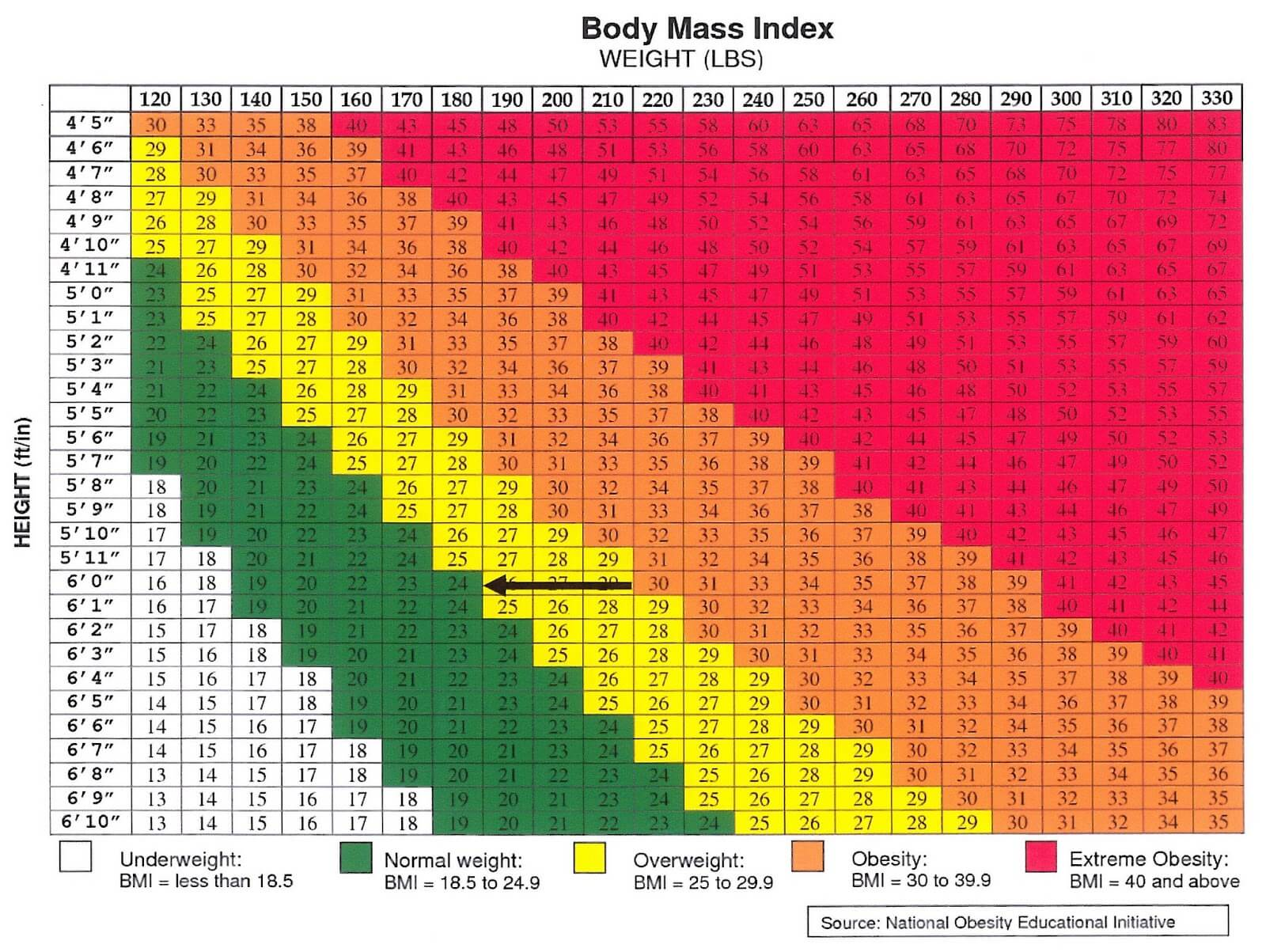 Bariatric Surery Obesity BMI Chart