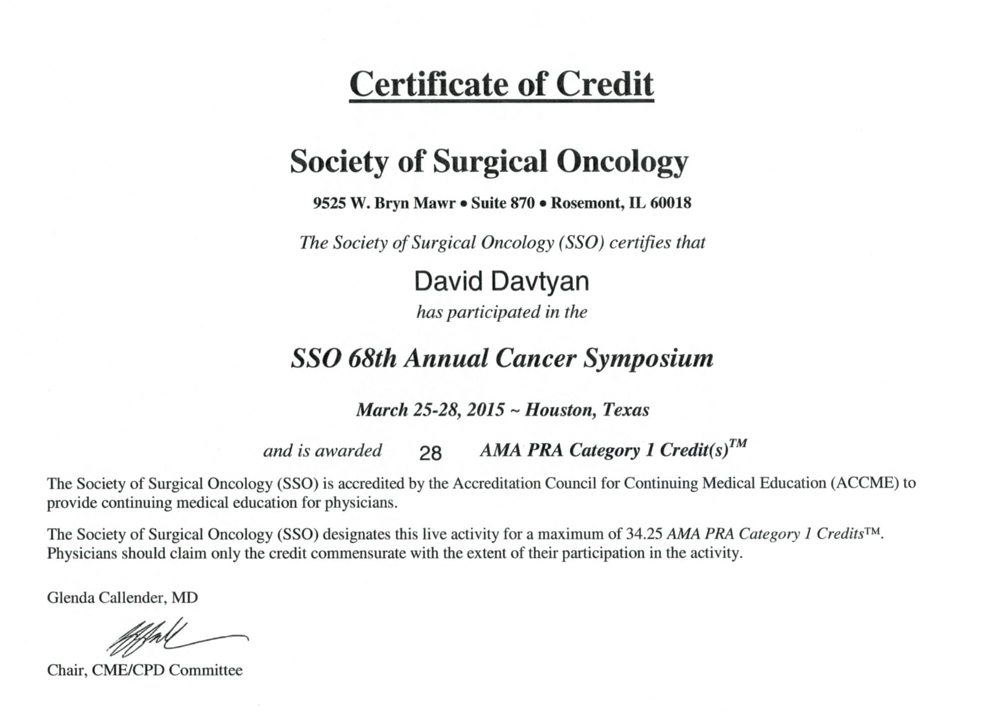 Dr. David Davtyan's 2015 Certification Society of Surgical Oncology For Participating In The SSO 68th Cancer Symposium