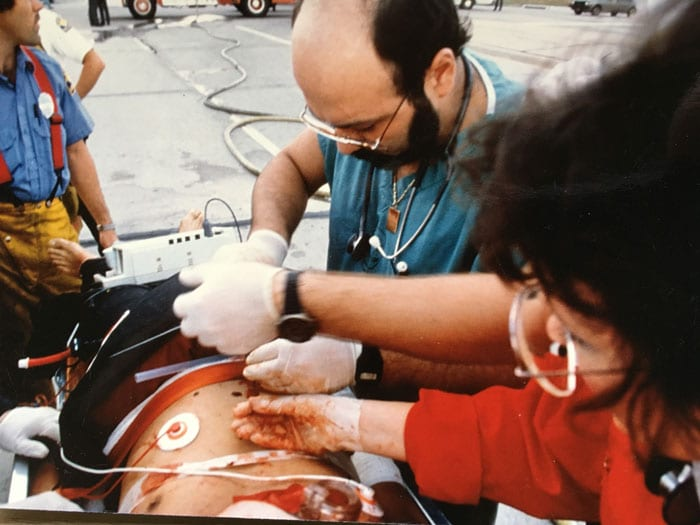 Dr. David Davtyan Performing Emergency Pericardiocentesis On Trauma Victim On The Streets of Houston
