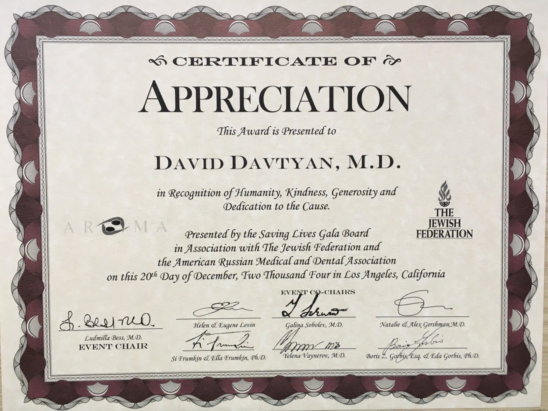 Certificate Of Appreciation For Dr. David G. Davtyan For Saving Lives Gala Board In Association With The Jewish Federation And The American Russian Medical Ad Dental Association