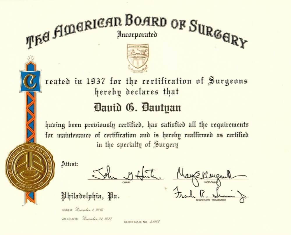Dr. David Davtyan American Board of Surgery Certification Bariatric Surgeon Weight Loss Surgery Center of Los Angeles Beverly Hills Glendale Rancho Cucamonga